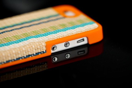 Чехол для iPhone 5 с плетением- patterning case (оранжевый)
